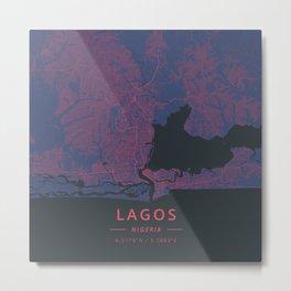 Lagos, Nigeria - Neon Metal Print