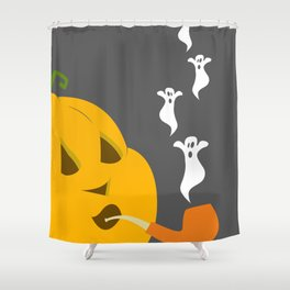 Halloween Smoking Jack o Lantern Shower Curtain