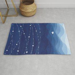Garland of Stars IV, night sky Rug