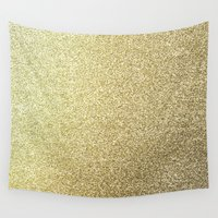 gold glitter Wall Tapestries featuring gold glitter by lamottedesign