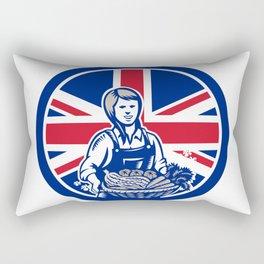 British Female Organic Farmer Union Jack Flag Icon Rectangular Pillow
