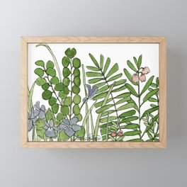 Watercolor Woodland Ferns and Violets Delicate Detailed Nature Art Framed Mini Art Print