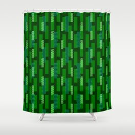 pixel brick geometric pattern_green Shower Curtain