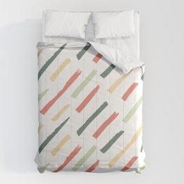 Abstract Ink Lines Pattern - Coral Green and White Comforters