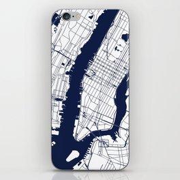 New York City White on Navy iPhone Skin