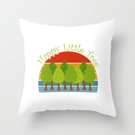 """Save Earth Environmental Shirt For Environentalists """"Happy Little Tree"""" T-shirt Design Nature Throw Pillow"""