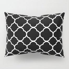 Quatrefoil Shape (Quatrefoil Tiles) - Black White Pillow Sham