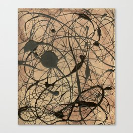 Pollock Inspired Abstract Black On Beige Canvas Print