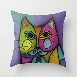 Calico Cat Colorful Abstract Digital Painting  Throw Pillow