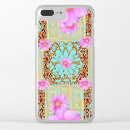 Delicate French Style Aqua Pink Wild Rose Gold Jewelry Abstract Clear iPhone Case