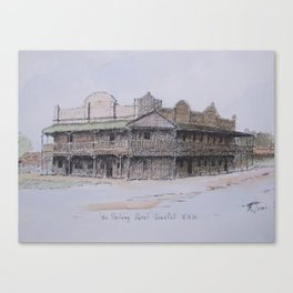 Pen and wash - Railway Hotel Canvas Print
