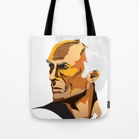 clint eastwood Tote Bags featuring Eastwood by zero Bounty