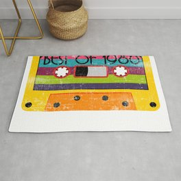 "Neon 80's Design A Colorful 80's Design Saying ""Best Of 1980"" T-shirt Design Vintage Old Fashion Rug"