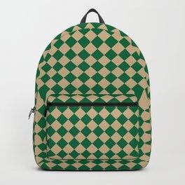 Tan Brown and Cadmium Green Diamonds Backpack
