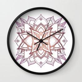 Mandala, Orange and Pink Leaves Wall Clock