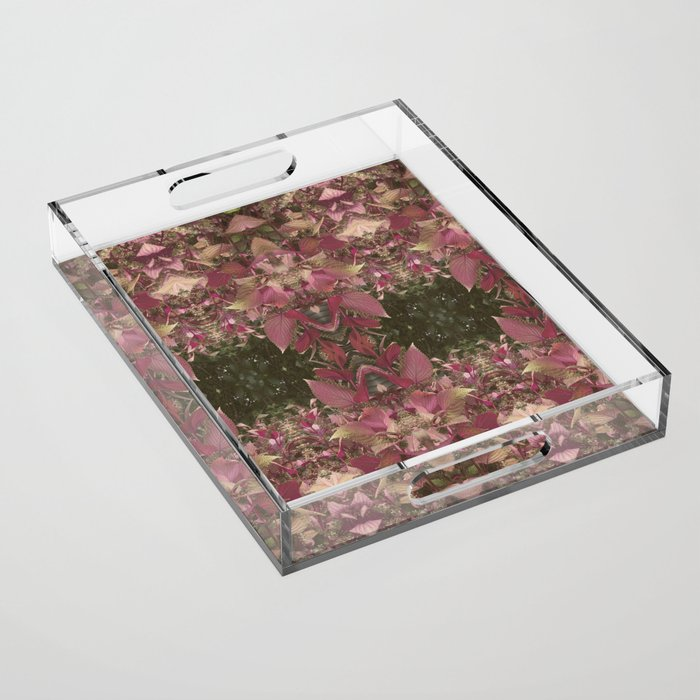 Red Shiso Warm Tones Pattern Acrylic Tray