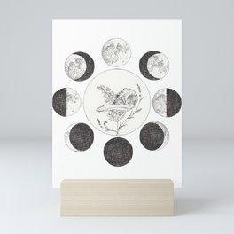 Raven Skull with Moon Cycle Mini Art Print