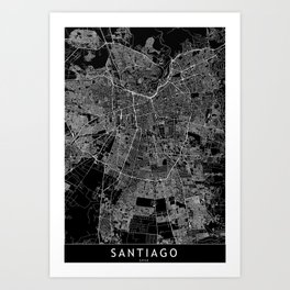 Santiago Black Map Art Print