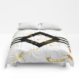 Abstract square golden marble pattern Comforters
