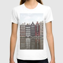 Buildings In Amsterdam City Picture | Dutch Canals Colorful Architecture Art Print | Europe Travel Photography T-shirt