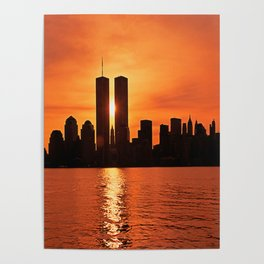 Twin Towers Summer Sky Poster