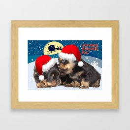 Puppy Christmas: I saw Mummy Kissing Santa Claus Vector Framed Art Print