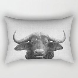African Buffalo - Black & White Rectangular Pillow