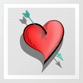 Heart and arrow, a touch of romance Art Print