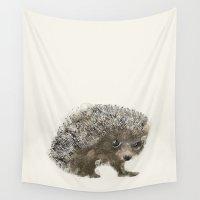 hedgehog Wall Tapestries featuring little hedgehog by bri.buckley