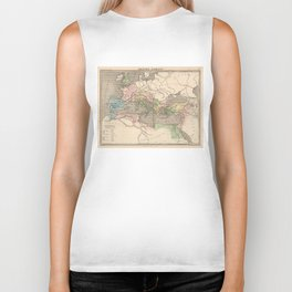 Vintage Map of The Roman Empire (1838) Biker Tank