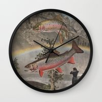 trout Wall Clocks featuring Rainbow Trout by Mitch Meseke