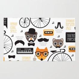 Hipster mustache animal jazz illustration design Rug