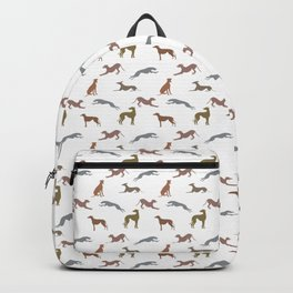 Greyt Metallic Shades of Greyhounds on White Backpack
