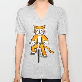 Cat on a bike Unisex V-Neck