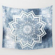BLUEISH SEA FLOWER MANDALA Wall Tapestry