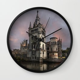 Pretty abandoned castle at sunset Wall Clock