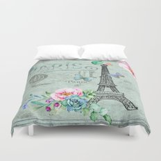 Paris - my love - France Eiffeltower Nostalgy- French Vintage on #Society6 Duvet Cover