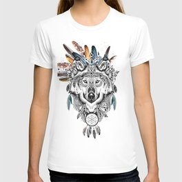Bohemian Wolf with Feather Headdress T-shirt