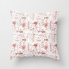 Doodle Christmas pattern Throw Pillow