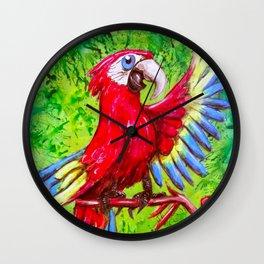 Tropical Parrot with Maracas  Wall Clock