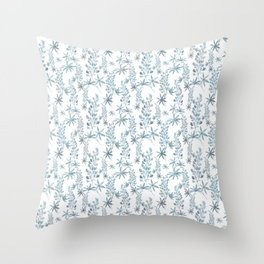 Winter patterns in blue. Throw Pillow
