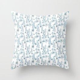Winter patterns in blue. Throw Pillow