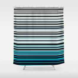 Monochrome and blue horizontal linework Shower Curtain