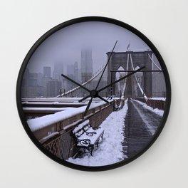 Brooklyn Bridge winter morning 2 Wall Clock