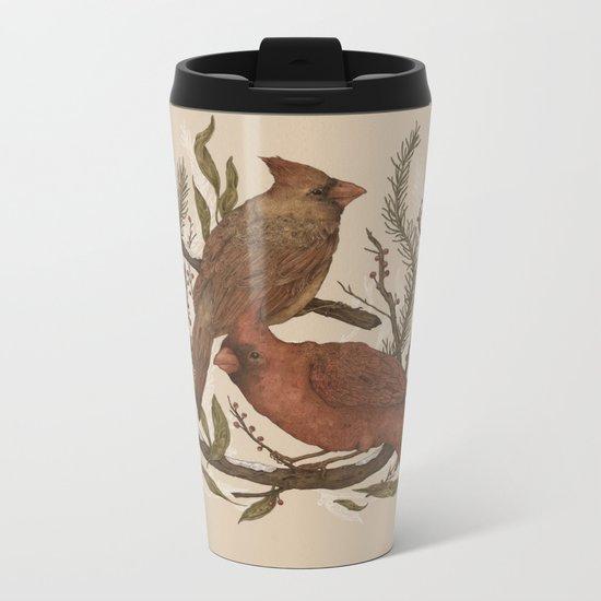 Wintery Cardinals Metal Travel Mug