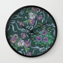 Violet with sweet peas flowers on dark background Wall Clock