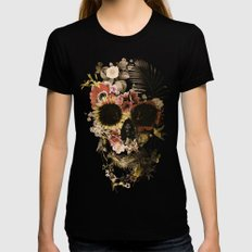 Garden Skull Light Womens Fitted Tee MEDIUM Black