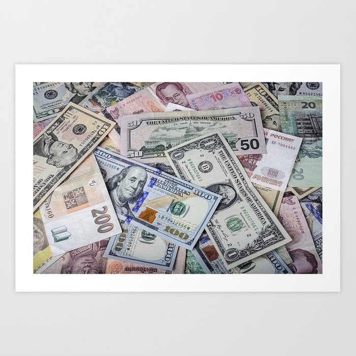 A collection of various foreign currencies Kunstdrucke