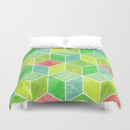Green and Pink Geometric Hexagons Digital Pattern Duvet Cover