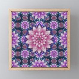 Embroidered pink & purple Framed Mini Art Print